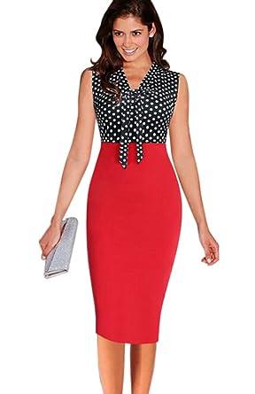 c08804c67d HowFitU Womens Bowknot Front V Neck Sleeveless Wear to Work Business Sheath  Dress