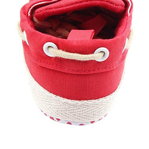 La Vogue Zapatos de Bebe con Cordones Infantil Primeros Pasos Rojo Talla 13cm
