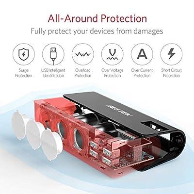 BESTEK 3-Socket 200W 12V/24V DC Cigarette Lighter Power Adapter with 6A 4-Port Car USB Splitter Charger: Automotive