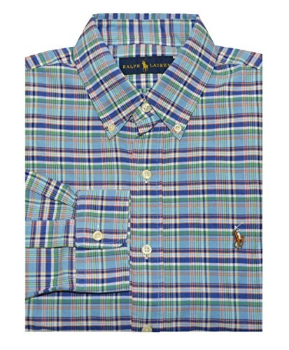 b5165dcd Polo Ralph Lauren Men's Plaid Long Sleeve Button Down Shirt-Cyan/Red-Large  - Buy Online in Oman. | Apparel Products in Oman - See Prices, Reviews and  Free ...
