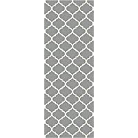 RUGGABLE Moroccan Trellis Light Grey Washable Indoor/Outdoor Stain Resistant 2.5x7 (30x84) Runner Rug 2pc Set (Cover Pad)