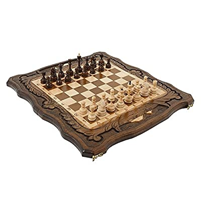 Handmade 3 in 1 Walnut Wood chess set 15.7 inch - Backgammon, checkers - High Detail Unique Board Game from Armenia Europe