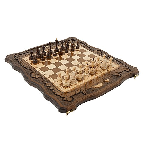 Handmade 3 in 1 Walnut Wood chess set 15.7 inch - Backgammon, checkers - High Detail Unique Board Game from Armenia - Shipping Mail Us International