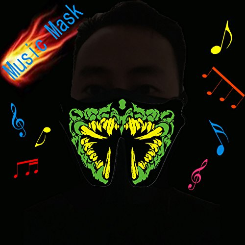 [Flashingworld Led party Mask with music and sound active for dancing,riding,skating,party and any festival (grass] (Dance Festival Costumes)
