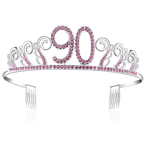 BABEYOND Crystal Rhinestone Tiara Princess Crown Birthday Crowns Silver Diamante Happy 18/20/21/30/40/50/60th Birthday (Pink-90th)
