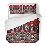 SanChic Duvet Cover Set Red Indonesia Geometric for Ceramics Ethnic Pattern Border Native American Design Navajo Mexican Aztec Decorative Bedding Set with Pillow Sham Twin Size