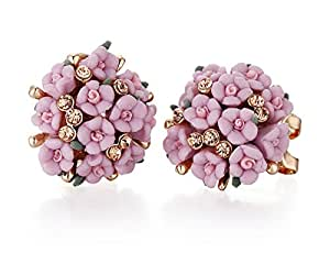 Nuwastone Ceramic flowers earrings anti allergy buttons and steel needles fashion jewelry (Purple)