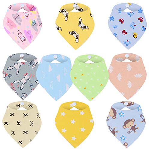 Baby Bandana Drool Bibs,Best for Drooling&Teething-100% Natural Organic Cotton,Soft and Absorbent,Hypoallergenic-for Boys and Girls-10 Pack,Perfect Baby Gifts Set(0-24 Months)(SD5000A)