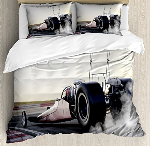 Ambesonne Cars Duvet Cover Set Queen Size, Dragster Racing Down The Track with Burnout Competition Speed Sports Technology, Decorative 3 Piece Bedding Set with 2 Pillow Shams, Grey Black White