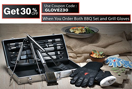 Stainless Steel BBQ Grill Accessories: 10 Piece Utensil Tool Set for Indoor Outdoor Cooking - Includes Spatula, Tongs, Brush & Carving Knife - The Perfect Gift