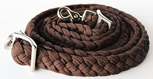Braided Nylon Tack - PRORIDER Roping Knotted Horse Tack Western Barrel Reins Rein Nylon Braided Brown 60728