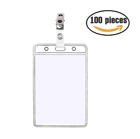 amazon com 100 pack 4x3 vertical id card badge holders metal id
