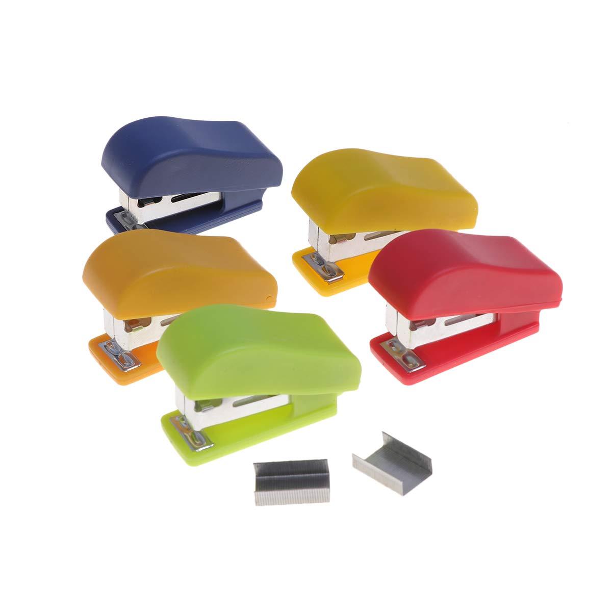colore casuale STOBOK Mini cucitrice manuale da tavolo Cucitrice a mano da scrivania Forniture per la casa da ufficio con punti 10pcs