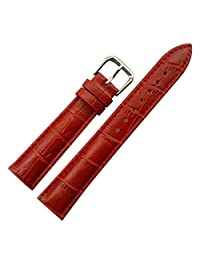 18mm Women's Red Genuine Replacement Leather Watch Band Alligator Grain Matte Finish with Low Gloss