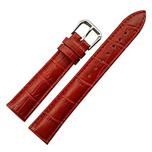 14mm Women's Red Genuine Replacement Leather Watch Band Alligator Grain Matte Finish with Low Gloss