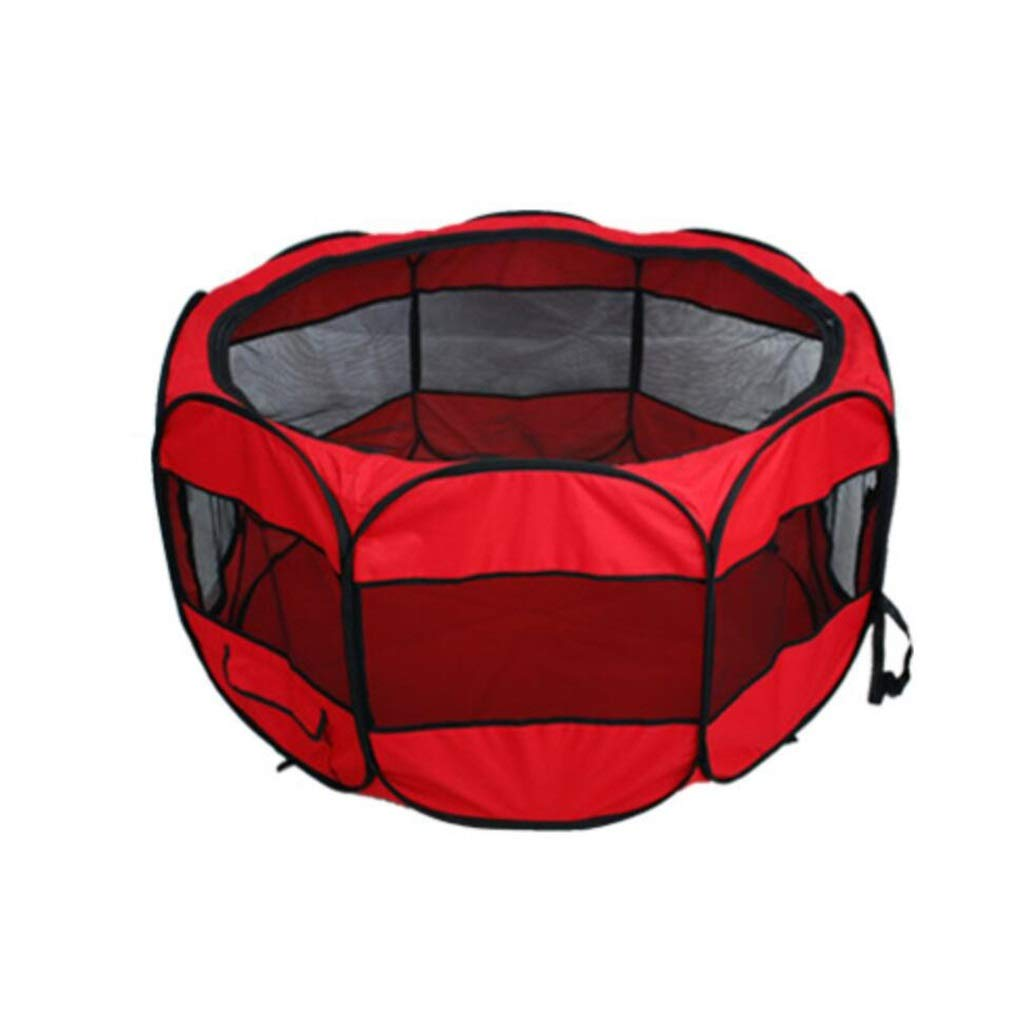Red 114.3cm red 114.3cm MIAOLIDP Pet fence cat and dog rabbit breathable mosquito tent folding pet cage out of the portable cage Pet cat carrier (color   Red, Size   114.3cm)
