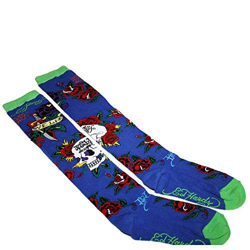Ed Hardy Women's SKULL and ROSE Knee High Socks(NAVY,OS) (Ed Hardy Womens Panty)