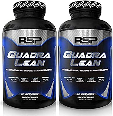 RSP QuadraLean Thermogenic Fat Burner for Men & Women, Weight Loss Supplement, Crash-Free Energy, Metabolism Booster & Appetite Suppressant, Diet Pills, 60 Servings (2-Pack)