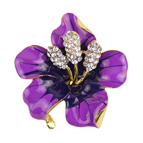 Merdia Brooch Pin for Women Flowers Brooch with Created Crystal Purple - Purple Womens Brooch