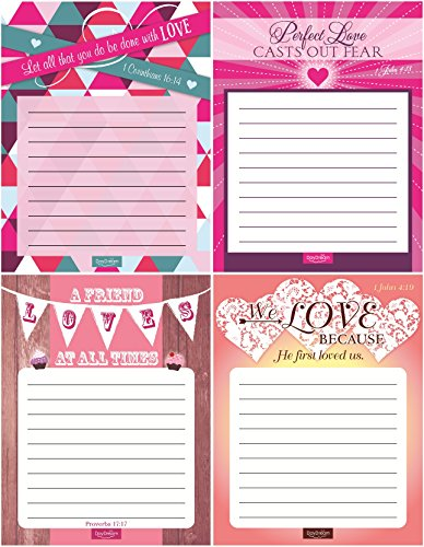 Love Notes Inspirational Notepad Collection - Canopy Street - Bible Verses for Valentine's Day - 4 Notepads