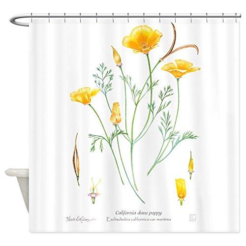 nuohaoshangmao California Dune Poppy (Eschscholzia Californica) S - Decorative Fabric Shower Curtain (Eschscholzia California Poppy)
