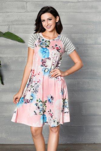 Hotapei Casual Manches Courtes Imprimé Floral Féminin D'une Ligne Robes T-shirt Loose Longueur Genou Rose