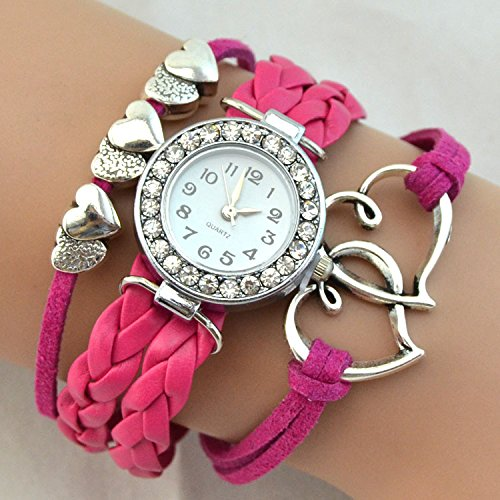 Foreign trade watch double heart diamond table pointer chronograph European and American fashion accessories bracelet bracelet watch female form