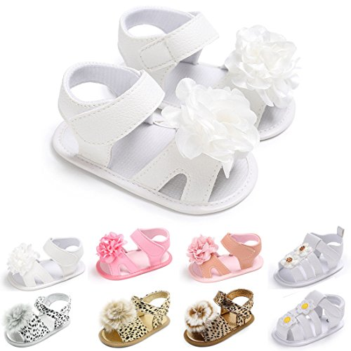 Tutoo Baby Girls Shoes Sandals Soft Anti-Slip Sole Newborn PU Leather Shoes Infant Fist Walkers Shoes (4.7 inches(6-12 Months), A-White)