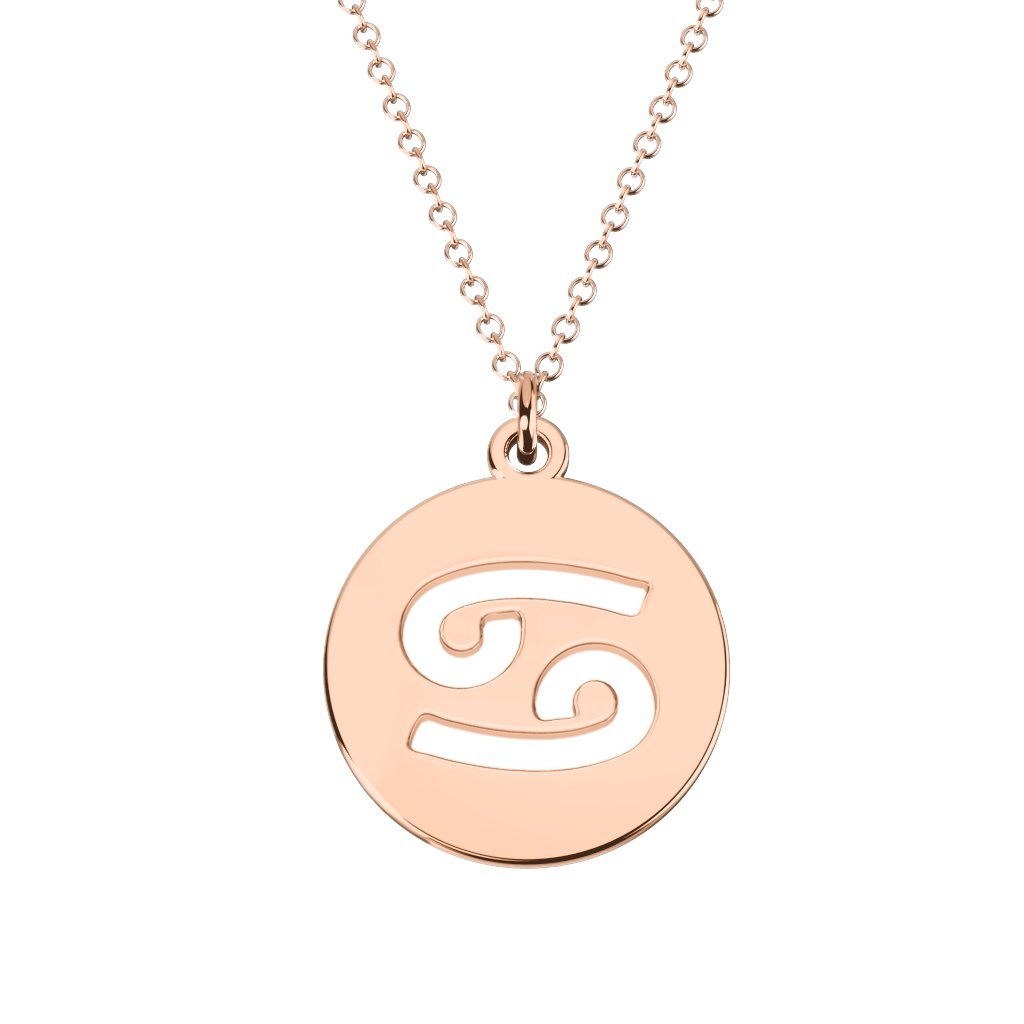 14K Gold Cancer Zodiac Symbol Cutout Disc Necklace by JEWLR