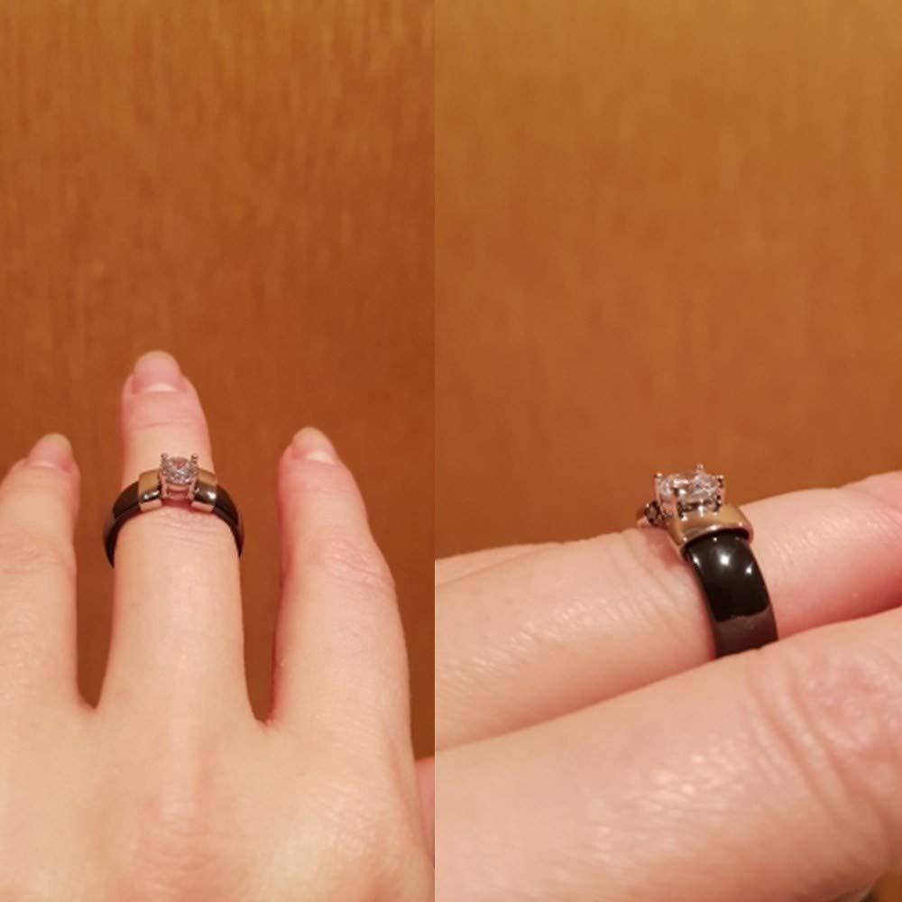 VQYSKO Bague Ceramique Femme 6mm Strass Brillant Noir//Blanc Dor/é//Argent Belle Bague Emballage de Bo/îte