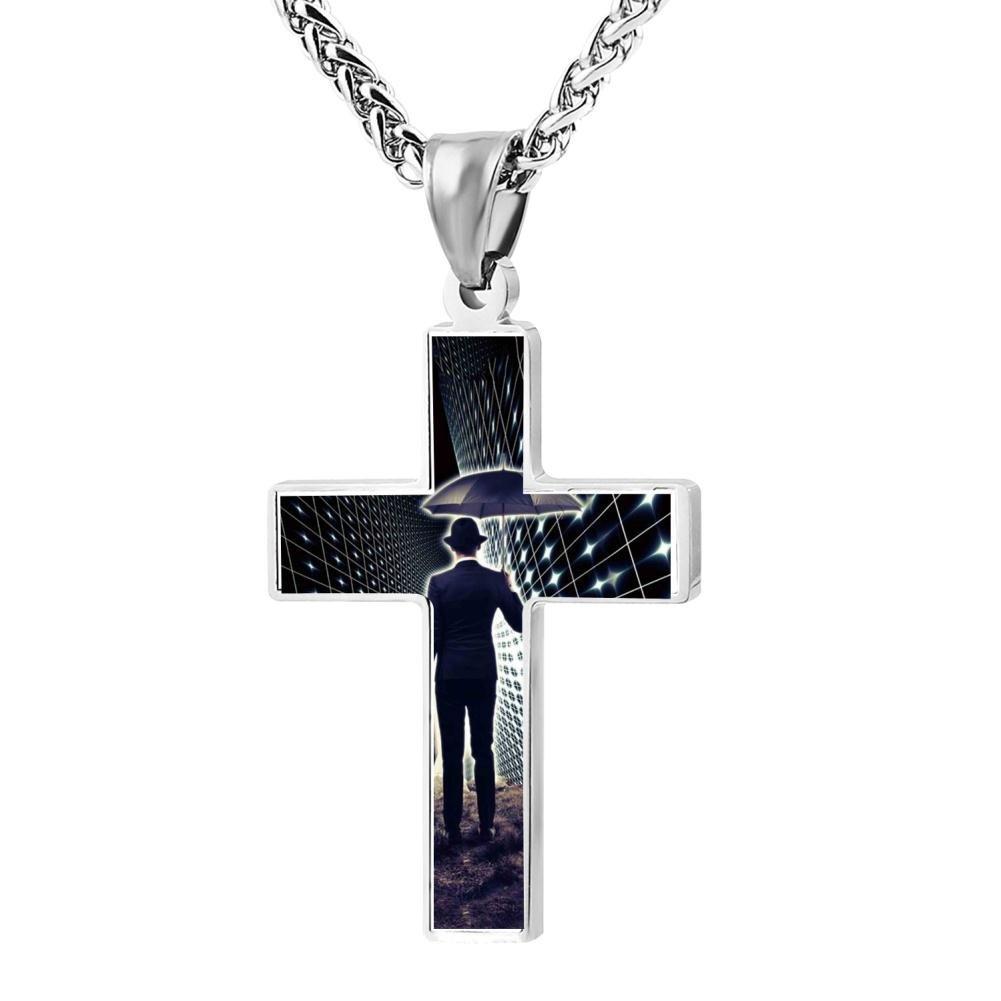 Cross Pendant Space-time Travel Zinc Alloy Necklace Ornaments forMan