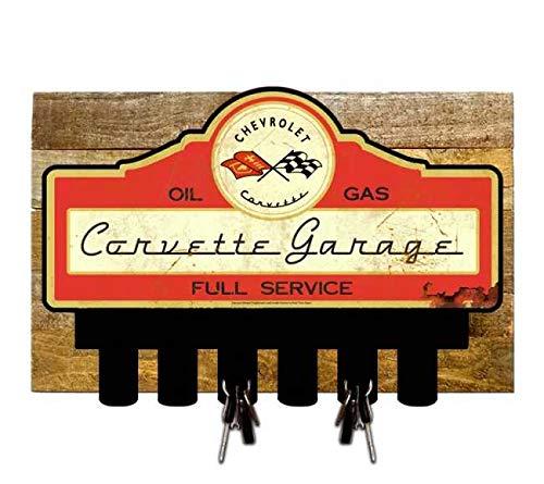 Licensed Chevrolet Corvette Garage Service Key Hanger Holder w/Wooden Backing