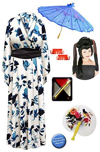 Navy & Cream Geisha Robe Plus Size Costume - Deluxe Red Ribbon Wig Kit 3x/4x