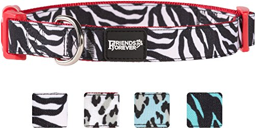 Friends Forever Dog Collar for Dogs, Fashion Print Zebra Pattern Cute Puppy Collar, 11-16