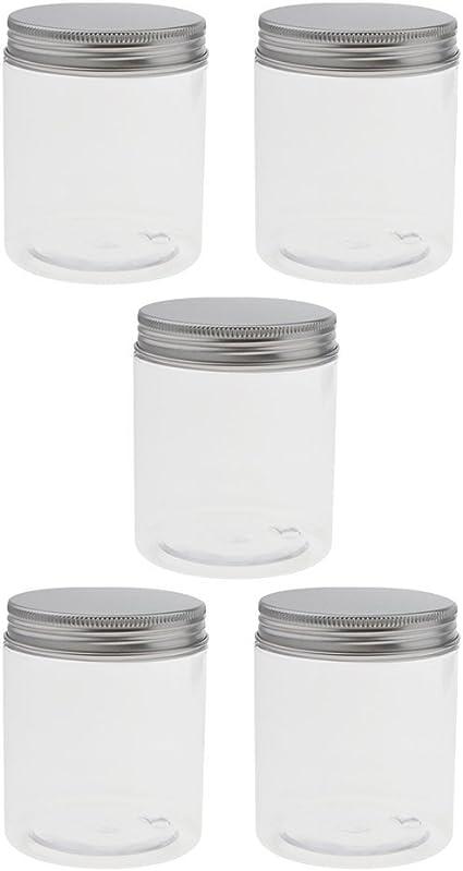 5 Pedazos Tarro Tapa de Aluminio Plástico Estuche Transparente Envase Cosmético Estaño Tarro Jar Contenedor Vacío - 250ml, 71x85mm: Amazon.es: Belleza