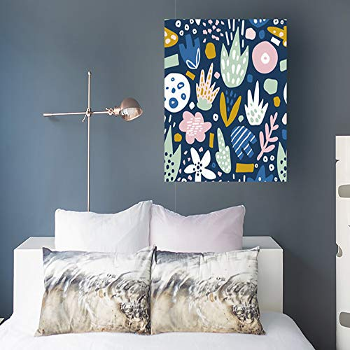 DaniulloRU Painting Canvas Wall Art Print Floral Funky Flowers Creative Textures Nature Whimsical Vintage Modern Artwork 16 x 16 Home Decor Bedroom Living Room Office