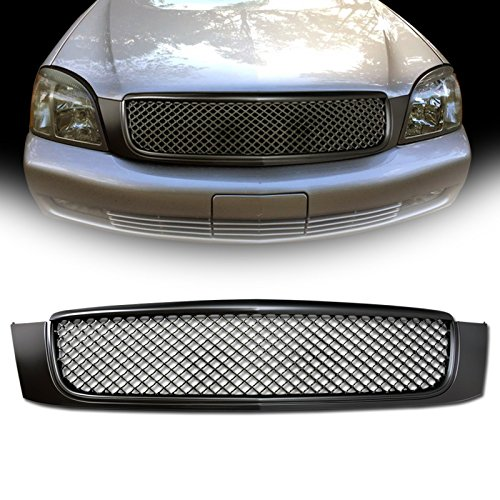VXMOTOR Matte Black Luxury Sport Mesh Front Hood Bumper Grill Grille Cover Conversion 2000-2005 Cadillac Deville