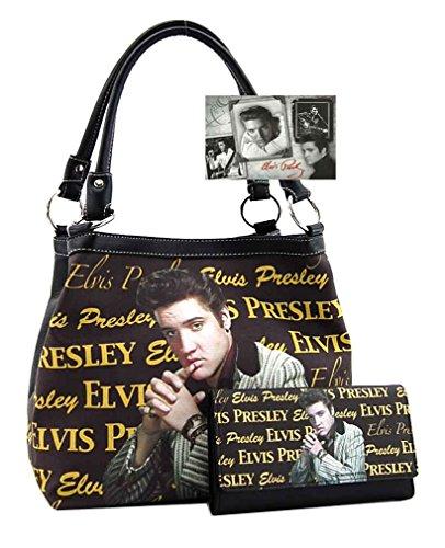 - Elvis Presley Medium Purse Wallet Set, Two Way Style (Brown)