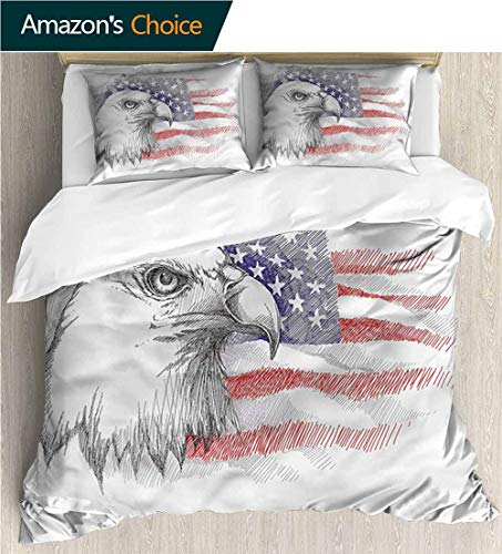Full/Queen Size Quilt Bedding Set,Box Stitched,Soft,Breathable,Hypoallergenic,Fade Resistant 3 Piece Bedding Quilt Coverlets - 100% Cotton Bed Quilts Coverlet-4Th Of July Bald Eagle Portrait