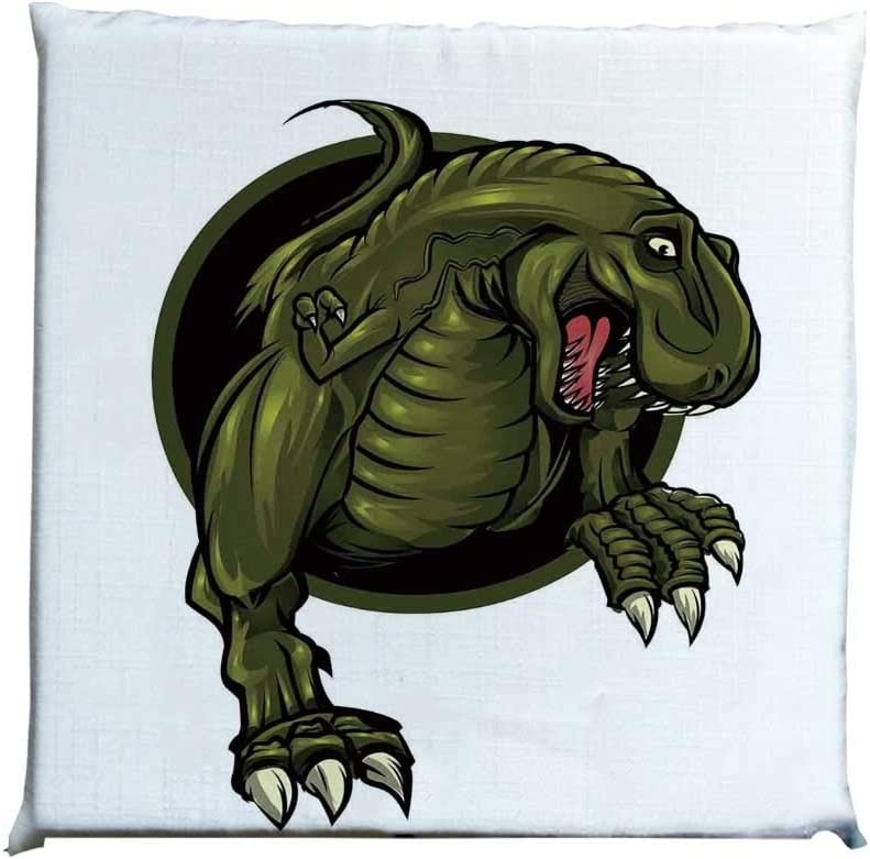 YOLIYANA Jurassic Decor Durable Square Chair Pad,Roaring T rex Mascot Ancient Animal Teeth Horror Wildlife Wilderness Extinct for Bedroom Living Room,One Size