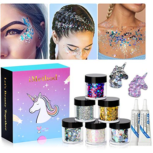 Holographic Chunky Glitter Makeup Set - 6 Jars