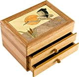 Wood Art Heron Box - Handmade USA - Unmatched Quality - Unique, No Two are the Same - Original Work of Wood Art. A Bird Gift, Ring, Trinket or Wood Jewelry Box (#6147 Heron Flying 2 Drawer)