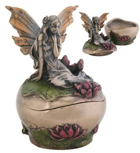 Pondering Fairy on Lotus Fantasy Art Nouveau Michelle Jewelry Box Display Decoration, 3 Inches