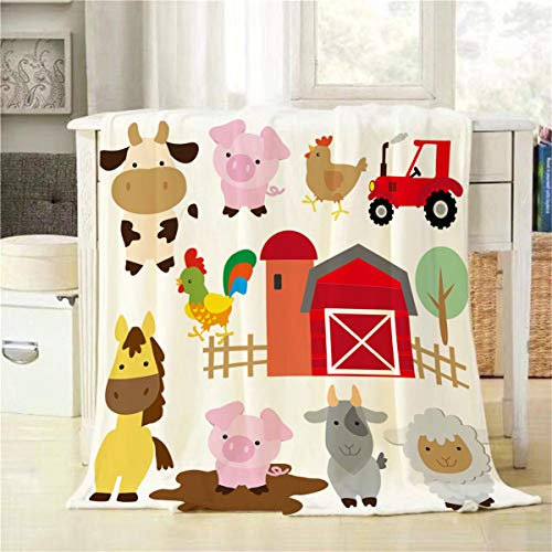 Throw Farm - Mugod Cartoon Animals Throw Blanket Cute Farm Animals Pig Cow Horse Sheep Goat Hen Rooster and Barn Decorative Soft Warm Cozy Flannel Plush Throws Blankets for Baby Toddler Dog Cat 30 X 40 Inch
