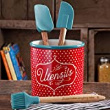 cooks tools polka dot - The Pioneer Woman Flea Market 4-Piece Utensil Set with Crock Holder, Polkadot