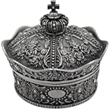mossty Cute Metal Crown Jewellery Box Antique European Style Treasure Box Princess Makeup Organizer with Flower Carved Big Size