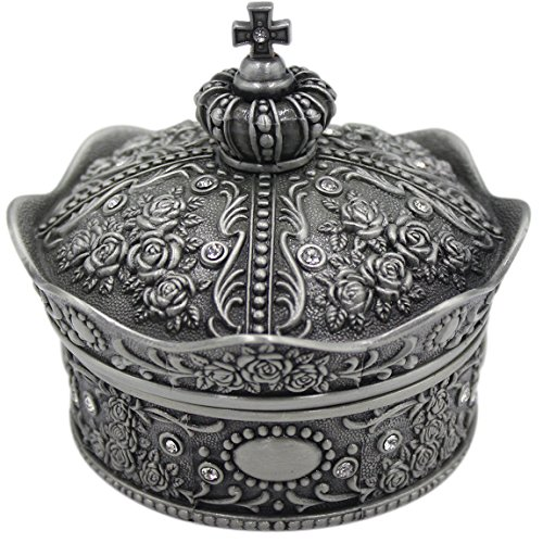 mossty Cute Metal Crown Jewellery Box Antique European Style Treasure Box Princess Makeup Organizer with Flower Carved Big Size by mossty