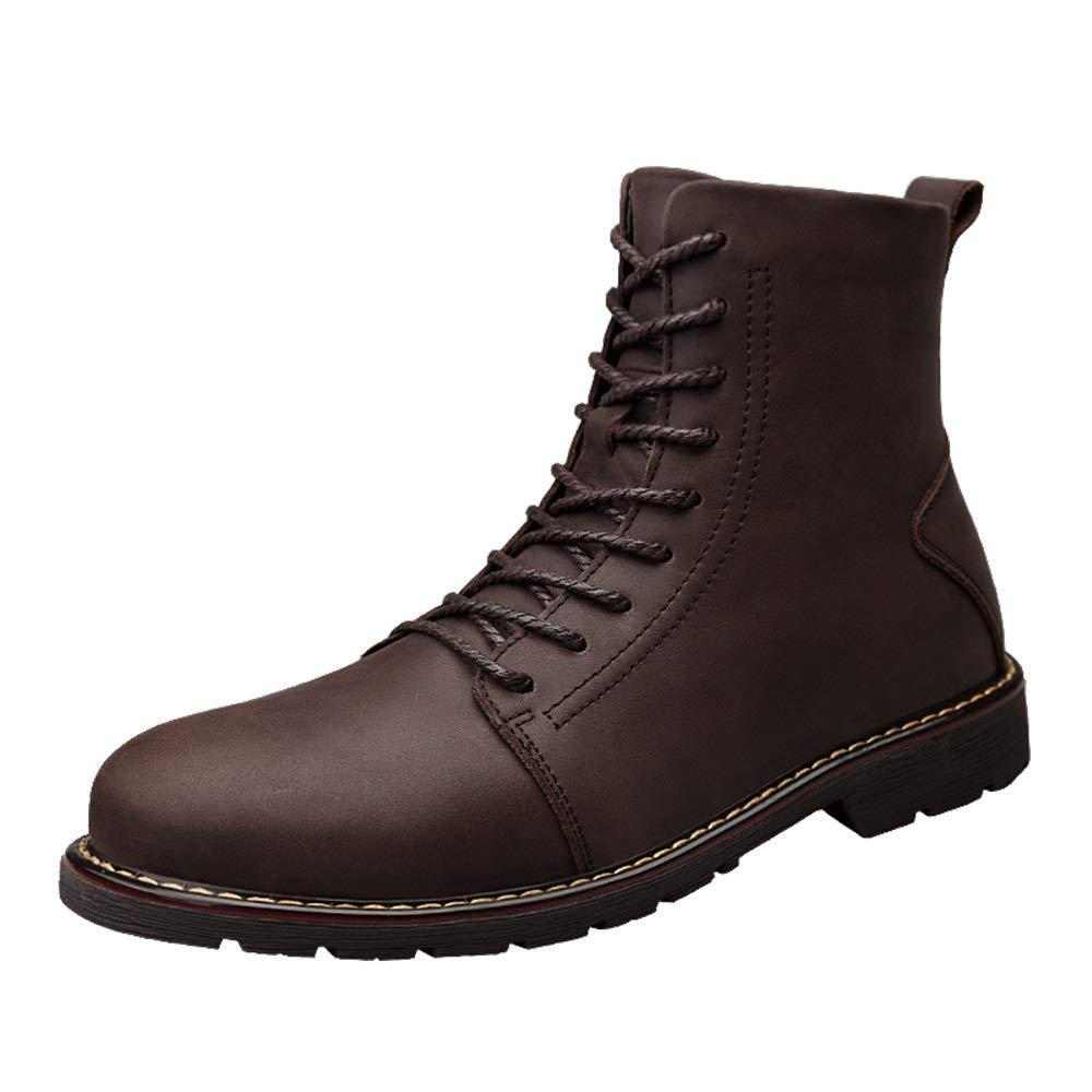 Shufang-schuhe Ankle Work Stiefel für Herren, Casual Einfache Klassische Runde Zehe Winter Faux Fleece Inside High Top Stiefel (Farbe   Braun, Größe   42 EU)