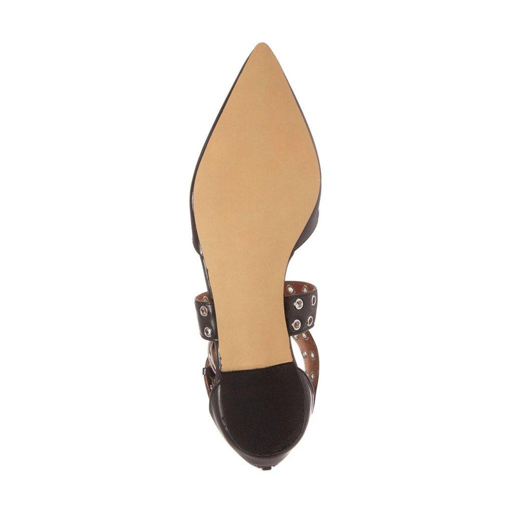 XYD Women Retro Cross Strap Studs Pointed Toe Sandal Flats Low Heel Buckle Dress Shoes B0711KJ566 5 B(M) US|Black