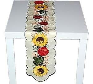 Decorativa Mantel Mesa banda claro amarillo sol flor Rose Multicolor bordado Camino de mesa Otoño 20x 120cm